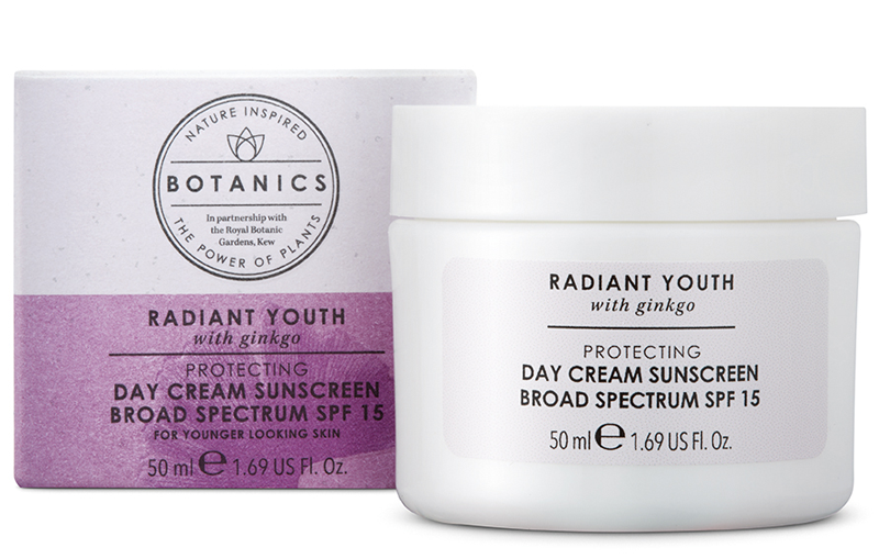 Radiant Youth Day Cream Sunscreen Broad Spectrum SPF 15 - Sunscreen is so important! I don't always realize when my skin, especially my face is exposed to the sun, so I've made it a point to incorporate sun protection in my daily skincare and makeup routine. I use this day cream sunscreen with out without makeup; it's lightweight and easy to apply.Description:When it comes to boosting the complexion, this nourishing day cream absorbs easily into skin, hydrating and boosting luminosity. Infused with a cocktail of anti-oxidants extracted from the leaves of the Ginkgo plant. Added UV protection guards against damage from sunlight.INGREDIENTSActive Ingredients Avobenzone 3%Octisalate 3%Octocrylene 5%Aqua (Water), C12-15 alkyl benzoate, Glycerin, Dimethicone, Prunus amygdalus dulcis (Sweet almond) oil, Cetearyl glucoside, Tribehenin, Butyrospermum oarkii (Shea) butter, Sodium polyacrylate, Potassium cetyl phosphate, Cetearyl alcohol, Phenoxyethanol, Globularia cordifolia callus extract, Xanthan gum, Dimethicone crosspolymer, Caprylyl glycol, Citric acid, Parfum (Fragrance), Dipropylene glycol, Tocopheryl acetate, Sodium benzoate, Hydrolyzed hyaluronic acid, Ginkgo biloba leaf extract, Ascorbyl glucoside, Retinyl palmitate, Ethylhexylglycerin, Tetrasodium EDTA, Limonene, Cupressus funebris wood oil, Simethicone, Hexyl cinnamal, Linalool, Potassium hydroxide, Citral, Tocopherol, Potassium sorbate, Tagetes minuta flower oil.