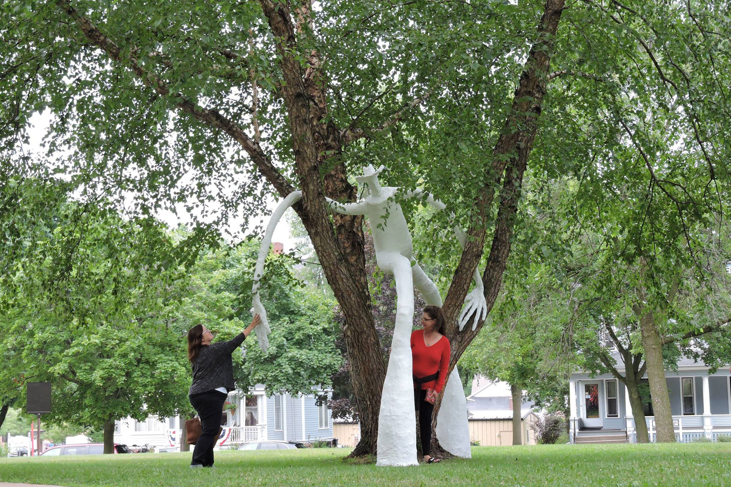 July-October 2016.  Cement, rebar, chicken wire, muslin, plywood, & latex paint.  Five sculptures of varying heights (12-18ft tall).  Public art commission made possible by Reedsburg ArtsLink.