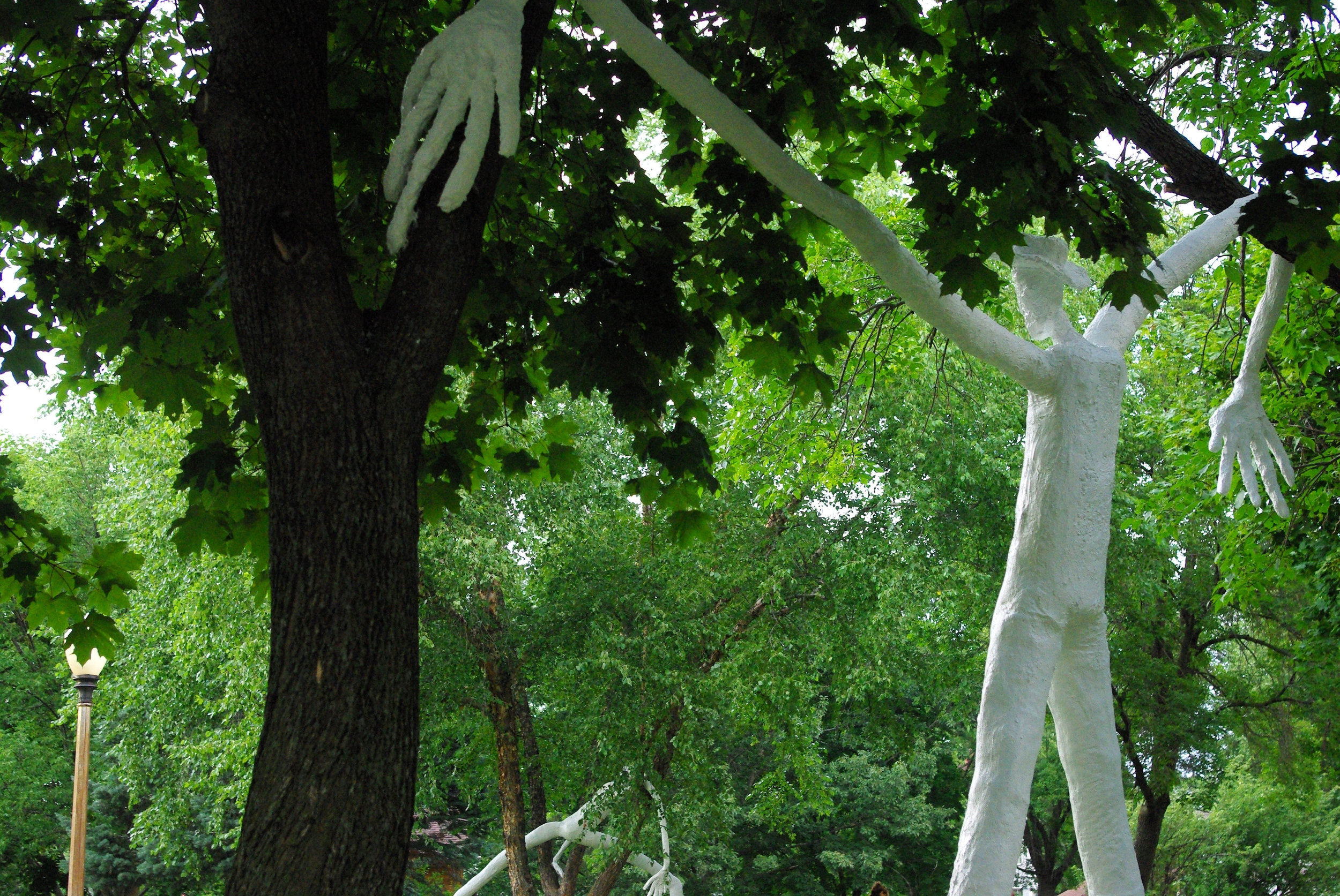 July-October 2016.  Cement, rebar, chicken wire,muslin, plywood, & latex paint.  Five sculptures of varying heights (12-18ft tall).  Public art commission made possible by Reedsburg ArtsLink.