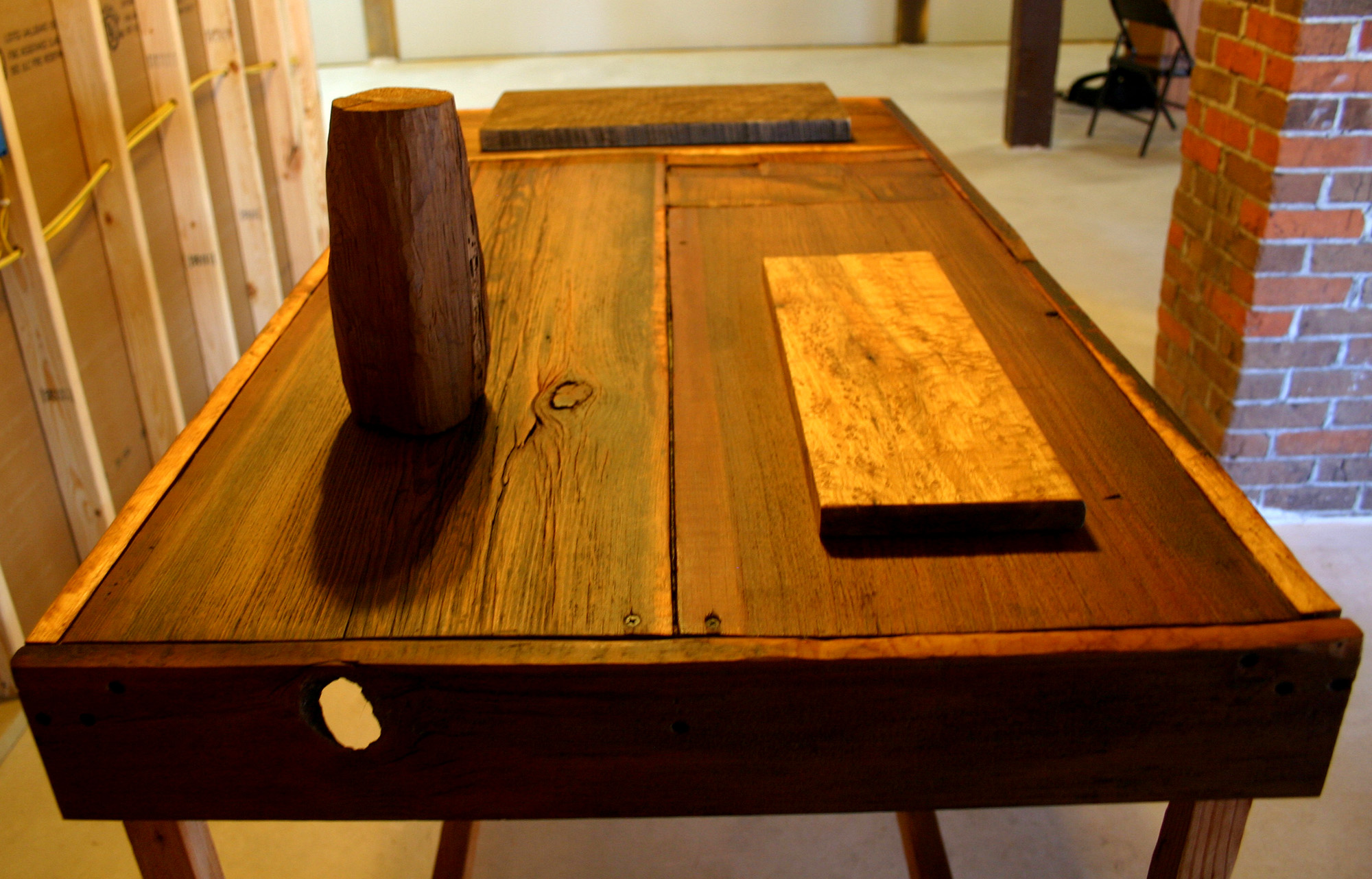 A table, a sculpture and two wood carvings made from reclaimed barn wood.  June-July 2016.  The Sanctuary was created while in residence at the Wormfarm Institute.