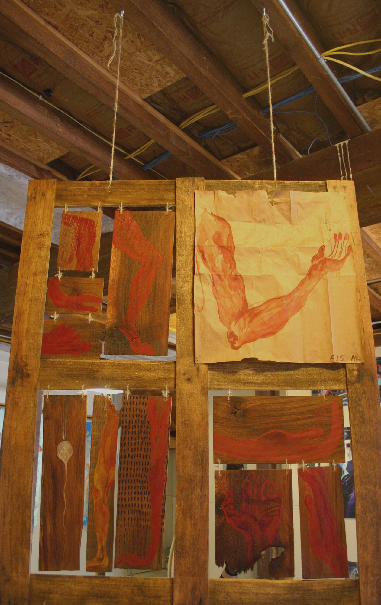 Raw pigment, egg yolk, and graphite on grocery bags & reclaimed wood.  June-July 2016.  The Sanctuary was created while in residence at the Wormfarm Institute.
