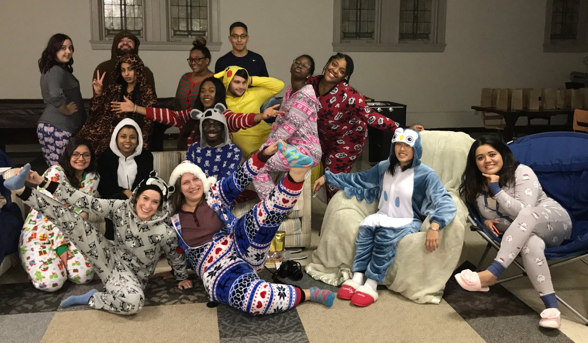 During UNT's down time, they fellowshipped with each other with a pajama party.