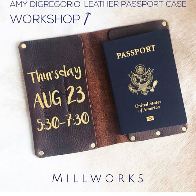 || TONIGHT || Come and join us for some sips and snacks while making your very own Leather Passport Holder with @amydigregorio !! Find the registration link in our bio ✨ . . . . . . #sbmillworks #millworksworkshop #santabarbara #amydigregorio #leatherpassportholder  #santabarbaraworkshops #themillsb