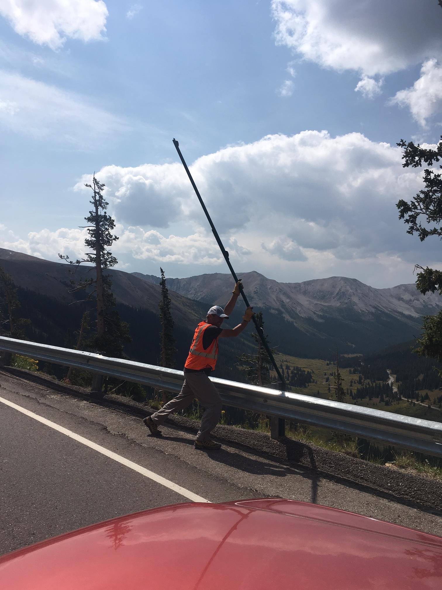 Tim removing site poles