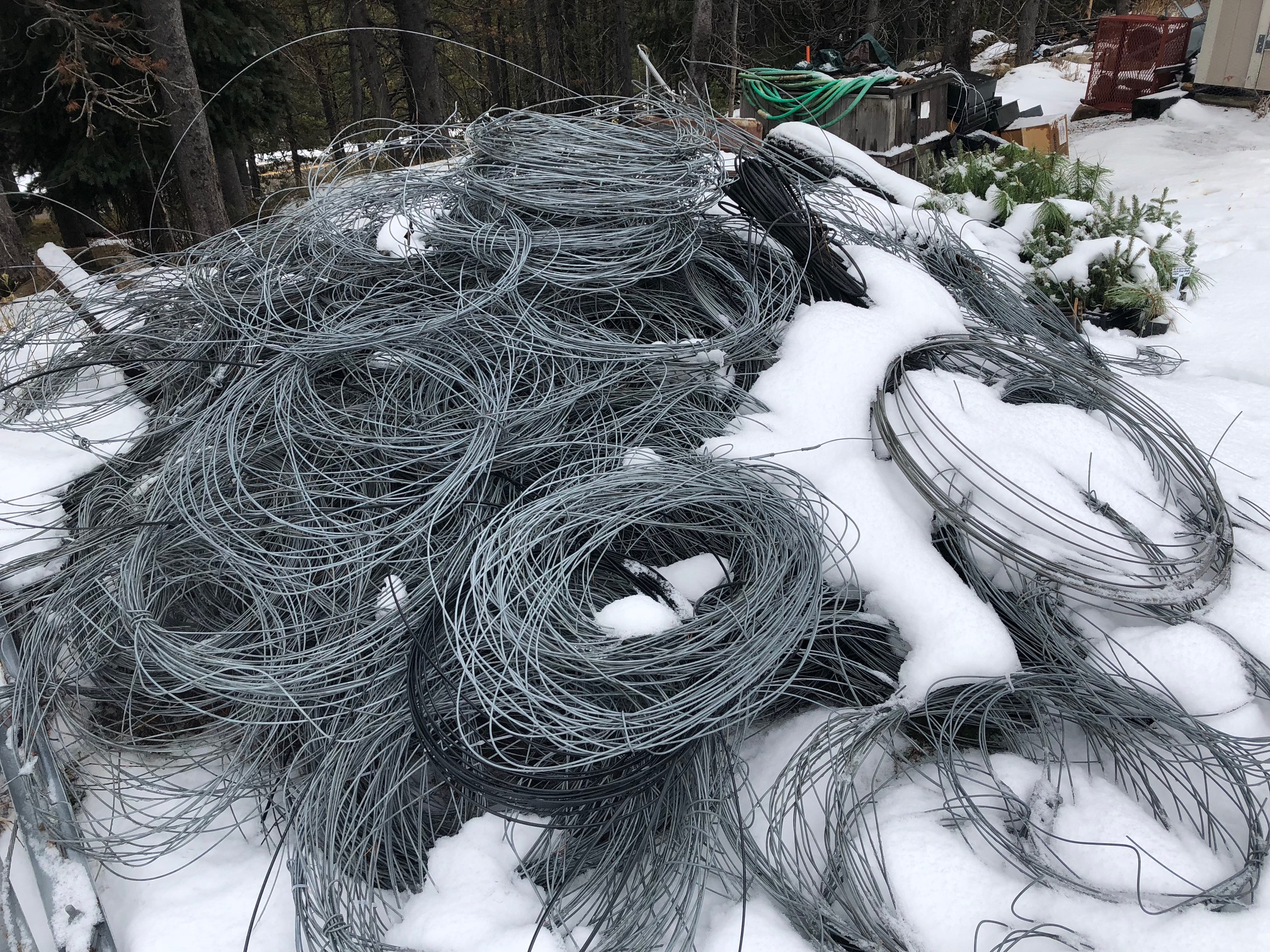 Abandoned telephone wire removed from Green Mountain in the Collegiate Peaks Wilderness