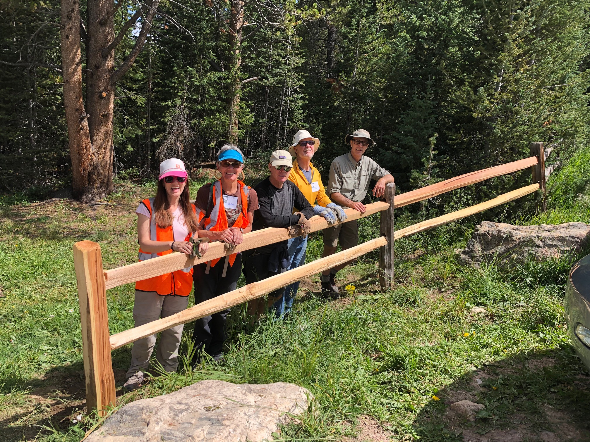 Volunteers installing new fencing at the Lost Man Trailhead