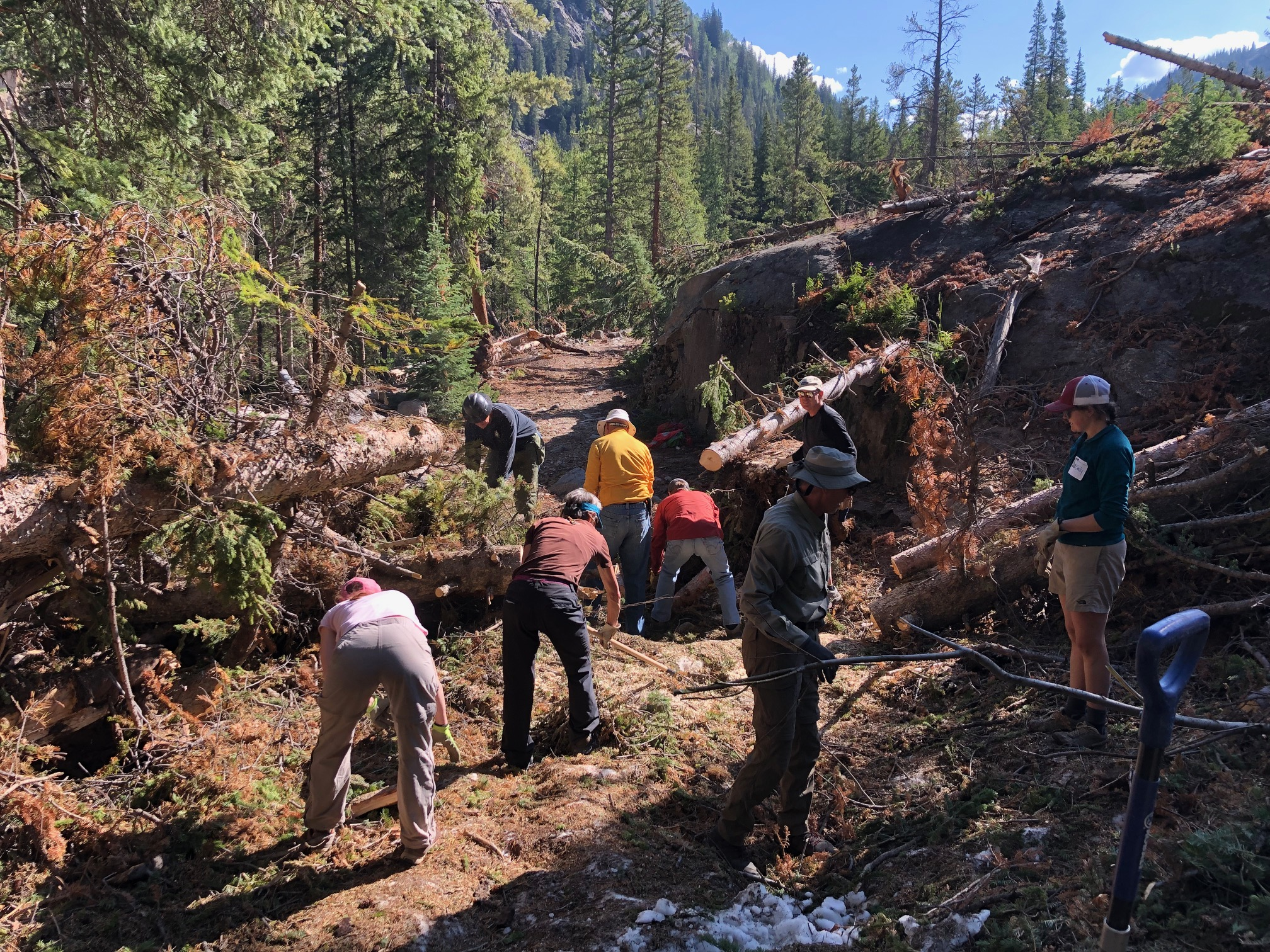Clearing the old wagon road trail in the Grottos post-avalanche