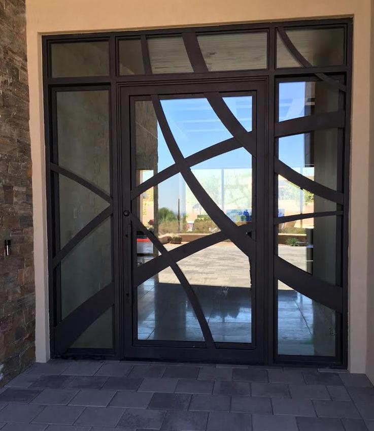 CONTEMPORARY STEEL AND GLASS DOOR 12