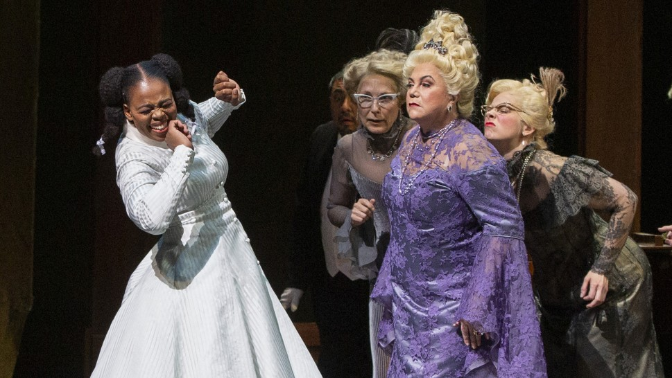 Pretty Yende, soprano, as Marie, and Kathleen Turner as the Duchess of Krakenthorp. Photo by Marty Sohl, Metropolitan Opera.