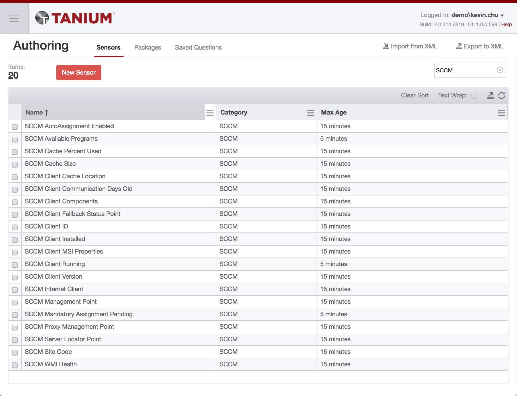 Tanium Console Authoring Tab