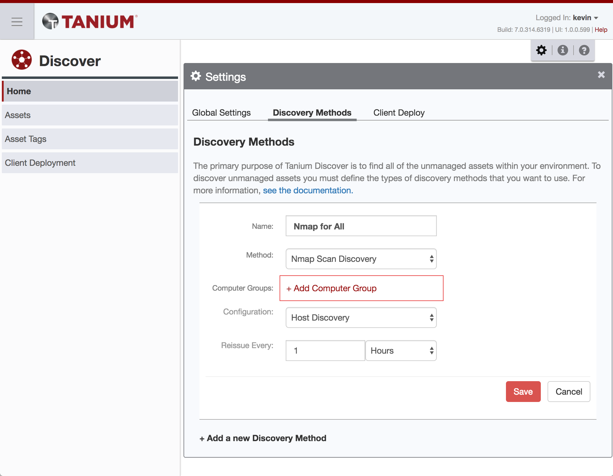 Nmap Scan Discovery Method in Tanium Discover