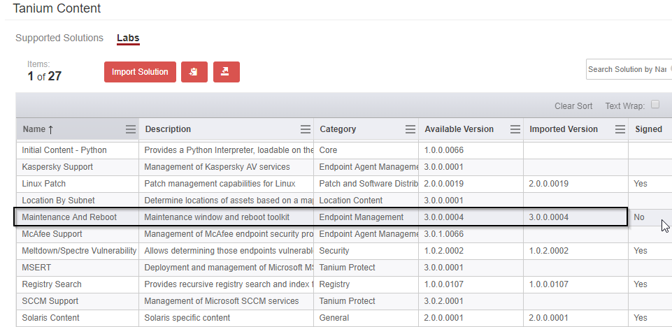 Figure 1 - Maintenance and Reboot Content import in Tanium Console