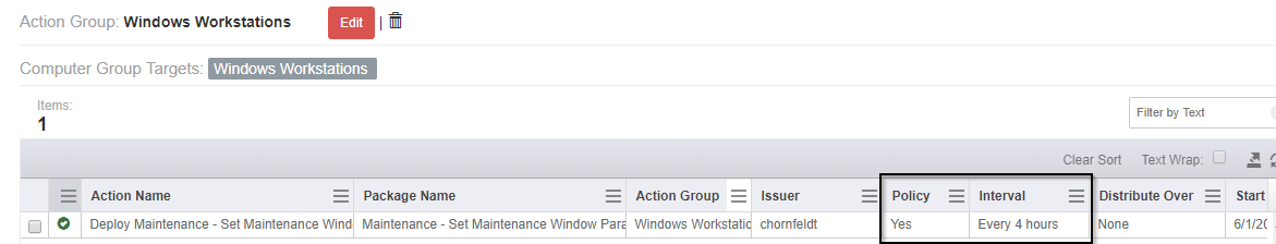 Figure 7 - Verification of Policy and Interval applied to the Windows Workstations Action Group
