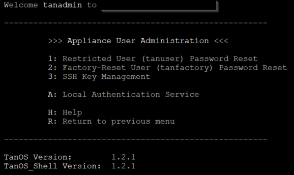 Figure        SEQ Figure \* ARABIC     1      -TanOS 1.2.x only offers Local Authentication Service for Tanium console access