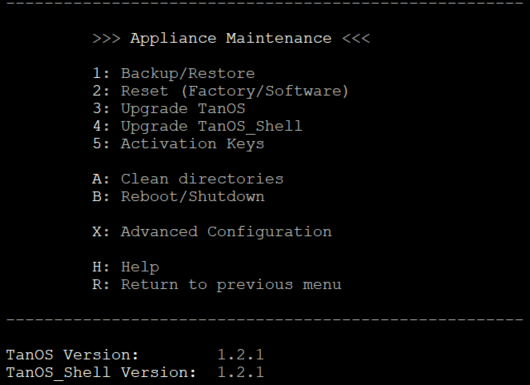 Figure        SEQ Figure \* ARABIC     5      -Appliance Maintenance Menu 1.2.x