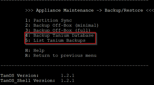 Figure        SEQ Figure \* ARABIC     8      -1.2.1 Tanium database backup and restore options