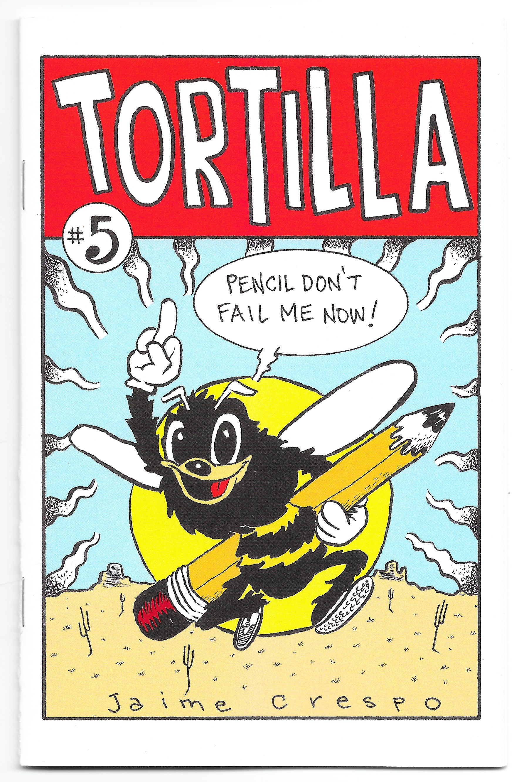 """Tortilla #5 - The """"Funny Issue"""" as I've been calling this one with a color cover and B&W pages. Featuring four stories from dealing with a neighborhood bully to looking at what Jesus' teen years may have been like, plus a couple other stories. I had a ball doing this one. Digest size with card stock cover. 24 pages. $4.50 (ppd)."""