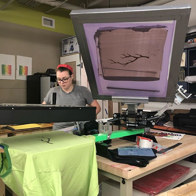 Two color screen printing at its finest. #screenprinting there's a few more spots to fill for Beth's class. Hope to see you there. Wednesday's @ 6:30