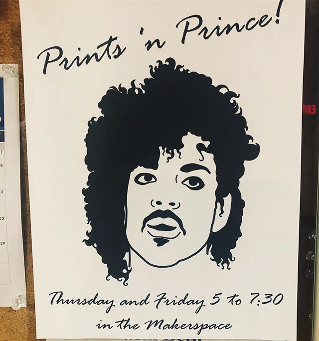 If you love prince you'll love making prints!! #makerspace #nonstop #art #prince #princenprints