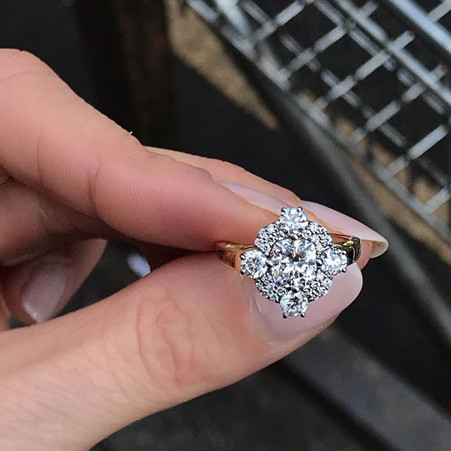 I love the North, South, East, West positioning of these four main diamonds on this beautiful diamond ring. Romantic and timeless. Unlike the location of the shoot, which was grimy and smelled of lunch. Another bespoke beauty for a lucky, lucky recipient, by @hattierickardsjewellery ✨✨✨✨#ringsformodernlovers . . . . . #jewelryaddict #ringoftheday #ooakjewelry #diamondrings #engagementringideas #engagementrings #proposal #proposalring #ringspiration #luxuryjewellery #jewellery_blog #bijouxlovers #schmuckblogger #bijouxtendance #vintagediamondring #thecutlondon