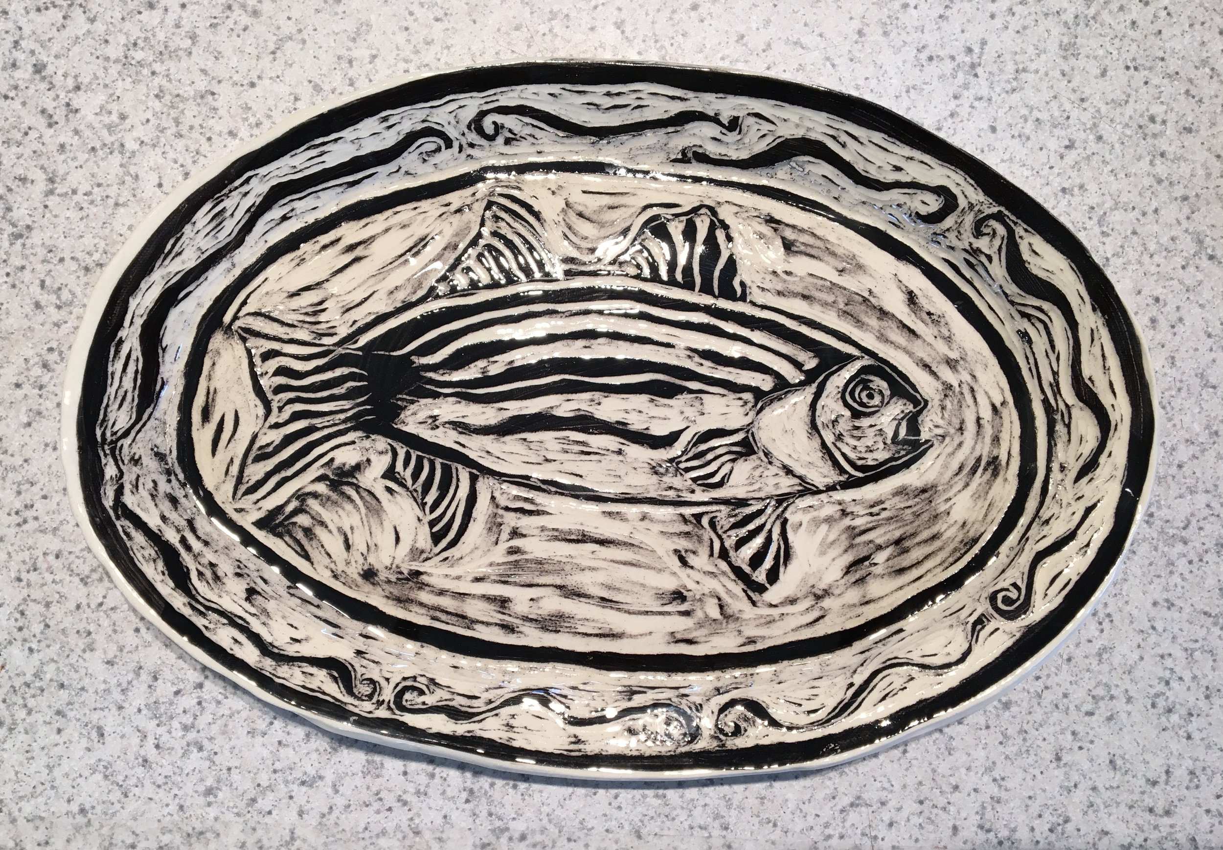 Sgraffito Platter by Constance Mayer