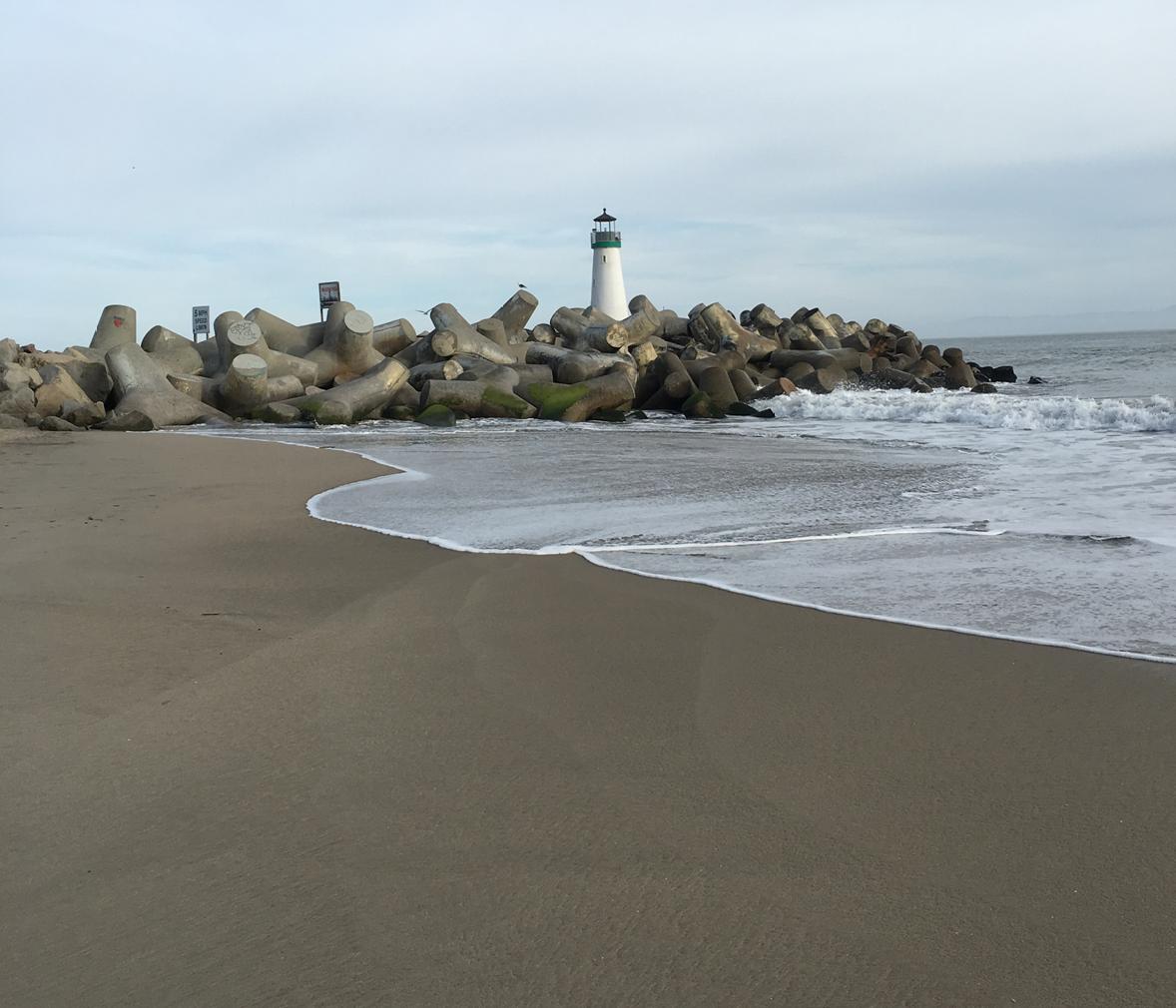 Santa Cruz Harbor Walton Lighthouse on dog-friendly Seabright Beach – less than a two minute walk from Beach Haven at Seabright.