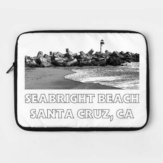 Seabright Beach, Santa Cruz Laptop Case.  Protect your laptop with a custom laptop sleeve. Easy access zipper. Foam padded interior fits 12 inch, 13 inch and 15 inch Laptops.   Order Here.   Reg:  $36  Also available in  Seabright Beach, Santa Cruz II    style in Black .
