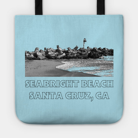 Seabright Beach, Santa Cruz Tote Bag.  Durable Poly-Poplin outer with a laminate-coated interior and cotton handles to keep all your things secure and looking great in a retro Seabright Beach design, perfect for the pool or beavh.   Order Here .  Reg:  $20 - $24  Also available in  Seabright Beach, Santa Cruz II    style in Navy Blue .