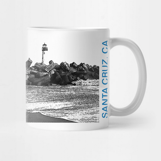 Seabright Beach, Santa Cruz Mug.  Ceramic 11oz coffee mug, Mono/Blue. Premium ceramic. Microwave and top-shelf dishwasher safe.     Order here .    Reg:  $15  Also available as a Travel Mug Reg:  $25