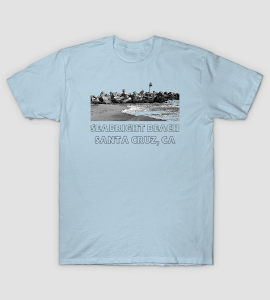 Seabright Beach, Santa Cruz Men's T-Shirt.  Men's Seabright Beach retro-styled short sleeve T-shirt available in a variety of colors, sizes, fits and styles. (Classic T-Shirt shown here in Light Blue.)   Order Here.   Reg:  $20 - $35  NOTE:  Some styles run small.    Available in  Kids and Toddler  versions.