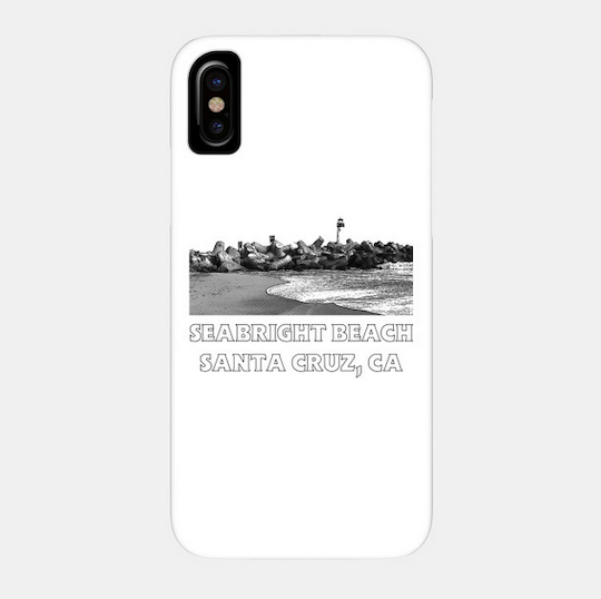 Seabright Beach, Santa Cruz Phone Case.  Available in White for a variety of Apple iPhones and Galaxy smartphones. High quality polycarbonate. Access to all ports. Fade and Scratch resistant.   Order Here.   Reg:  $25 - $30