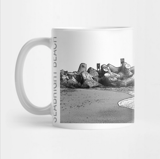 Seabright Beach, Santa Cruz Mug.  Ceramic 11oz coffee mug, Mono/Grey. Premium ceramic. Microwave and top-shelf dishwasher safe.     Order here.     Reg:  $15  Also available as a Travel Mug Reg:  $25