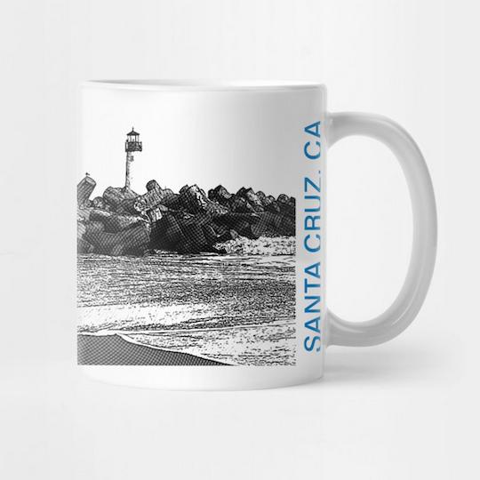 Seabright Beach, Santa Cruz Mug.  Ceramic 11oz coffee mug, Mono/Blue. Premium ceramic. Microwave and top-shelf dishwasher safe.     Order here .    Reg:  $15  Also available as a Travel Mug Reg:  $25