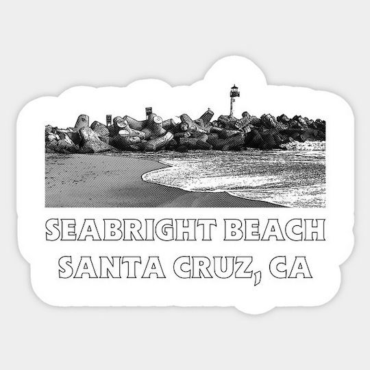 Seabright Beach, Santa Cruz Stickers.  Seabright Beach retro-style Sticker available in White. Individually die cut vinyl sticker. Semi gloss finish. 3 x 4 inch max size includes a thin white border around the sticker. Perfect for placing on your laptop, notebook or anywhere.  Order Here  .    Reg:  $2.50 each . Also available in  Seabright Beach, Santa Cruz II    style in Blue .
