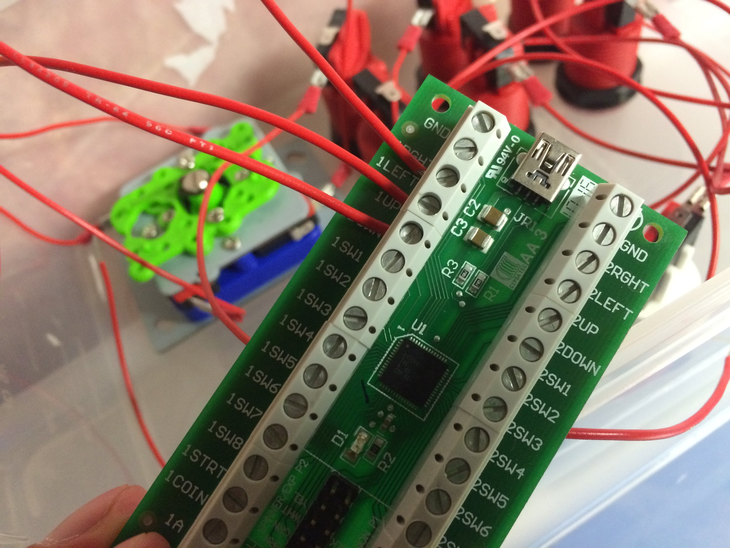 Wiring the buttons and joystick to the I-PAC encoder