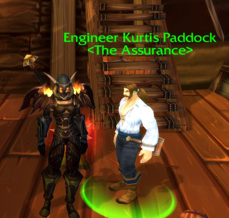My World of Warcraft avatar with my World of Warcraft vendor. This was a gift from the WoW Development Team to leads and specialists of Q.A. when I was working on Wrath of the Lich King.