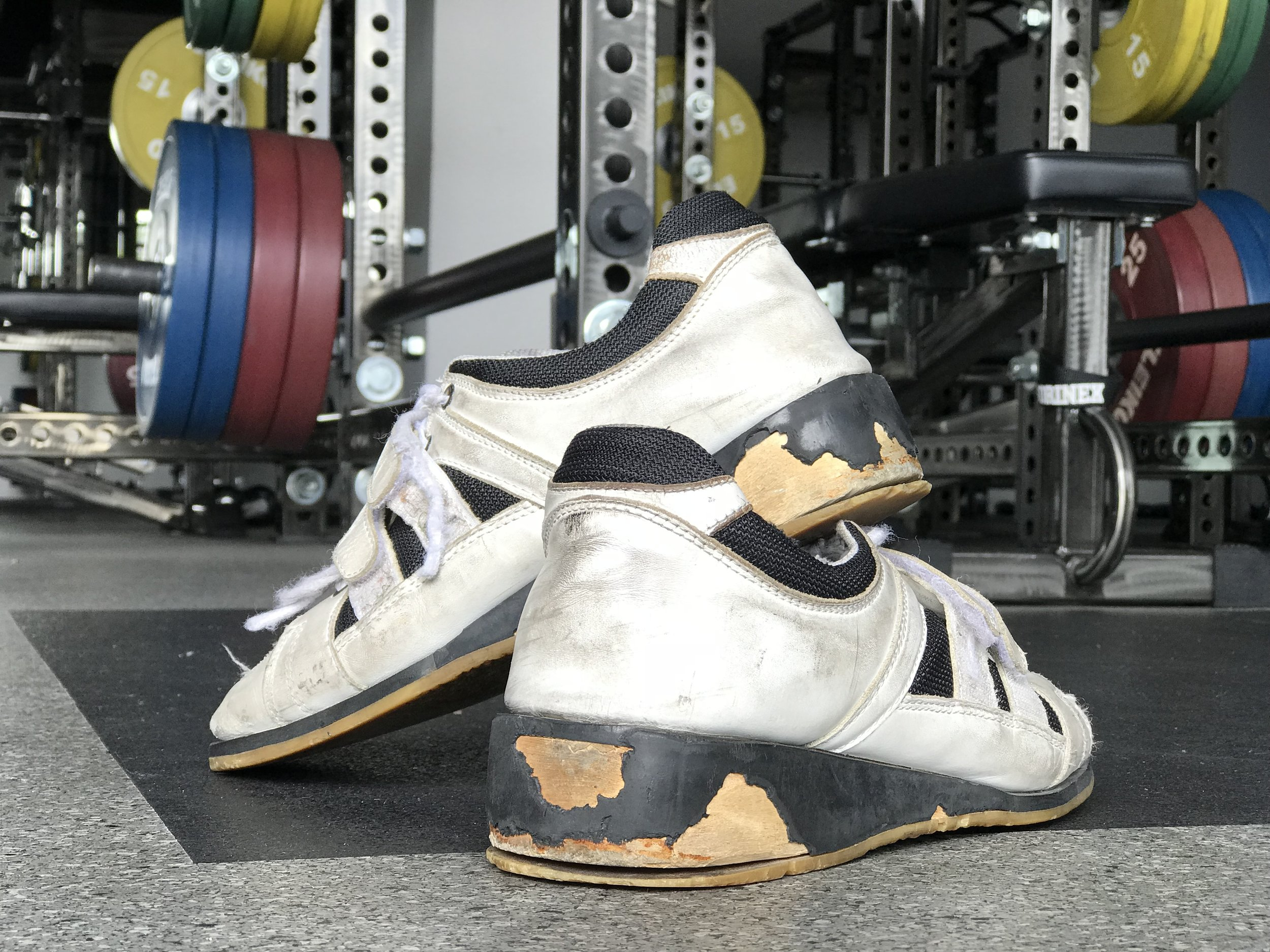 The author's weightlifting shoes. 11 years in the making.