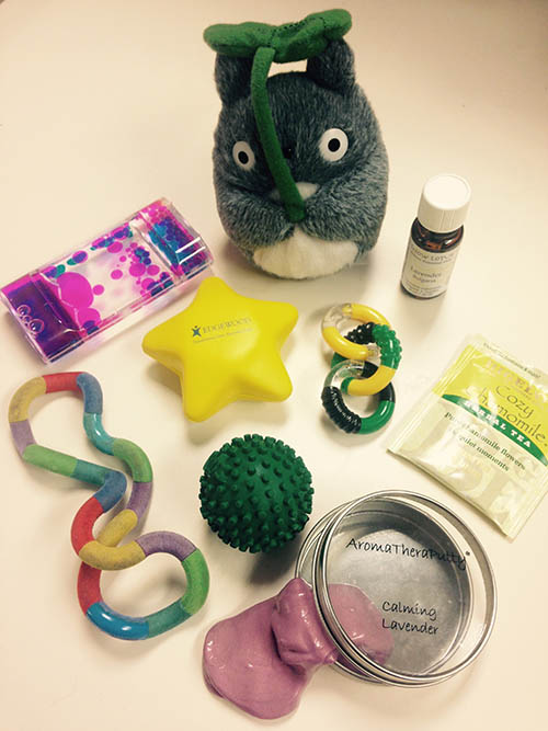 Some of the tools Mahalia uses to help kids develop coping mechanisms, (L-R starting at top): liquid timer, soft stuffed animal, essential oil, tangle jr. hand fidget, stress ball, another type of tangle jr. fidget, tea, hand and foot message ball, aromatheraputty (scented silly putty).
