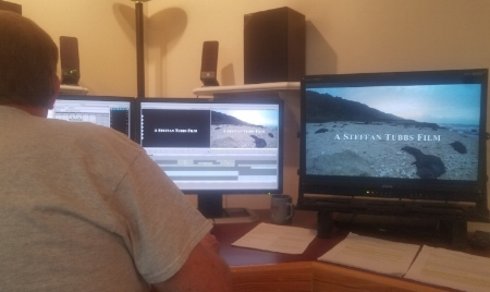 Editor Doug Hanes works on the latest Mountain Time Media documentary short film, 'Return To Pearl.'