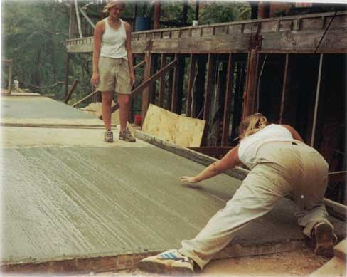 Becca and I finishing cement.