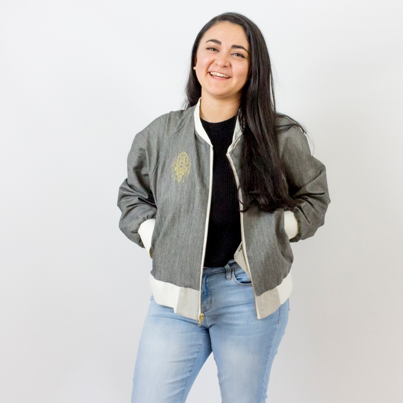 - Impress your friends by adding this stylish bomber jacket to your wardrobe. It's the perfect accessory to dress up your Jeans or add an edge to your party skirt. This jacket not only makes you feel accomplished, you learn important skills that will help advance your sewing to the next level.