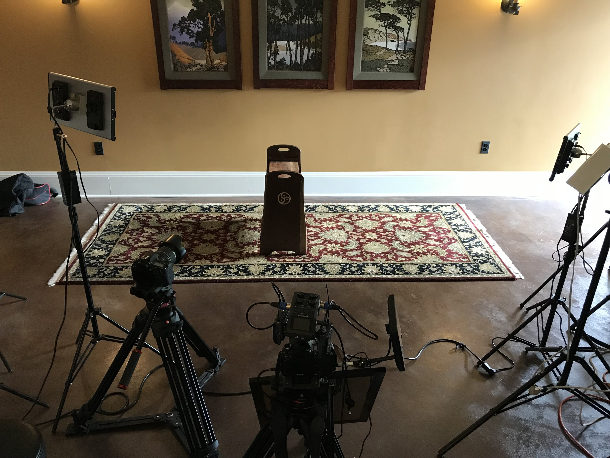 VIDEO SHOOT SET-UP. We shoot all our videos in Alex's studio which is unrecognizable once we get all the lights, cameras and audio equipment in there.