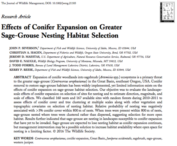 Effects of Conifer Expansion on Greater Sage-Grouse Nesting Habitat Selection byJ.P. Severson et al. 2016 -