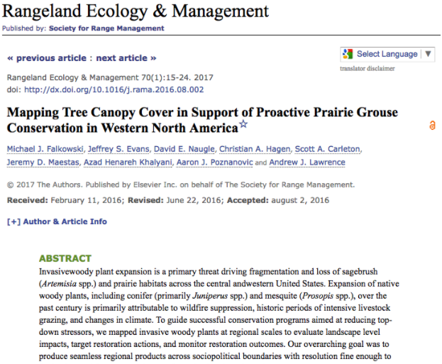 Mapping Tree Canopy Cover in Support of Proactive Prairie Grouse Conservation in Western North America by M.J. Falkowski et al. 2017 -