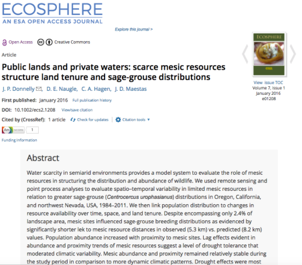 Public Lands and Private Waters: Scarce Mesic Resources Structure Land Tenure and Sage-grouse Distributions by J.P. Donnelly et al. 2016 -