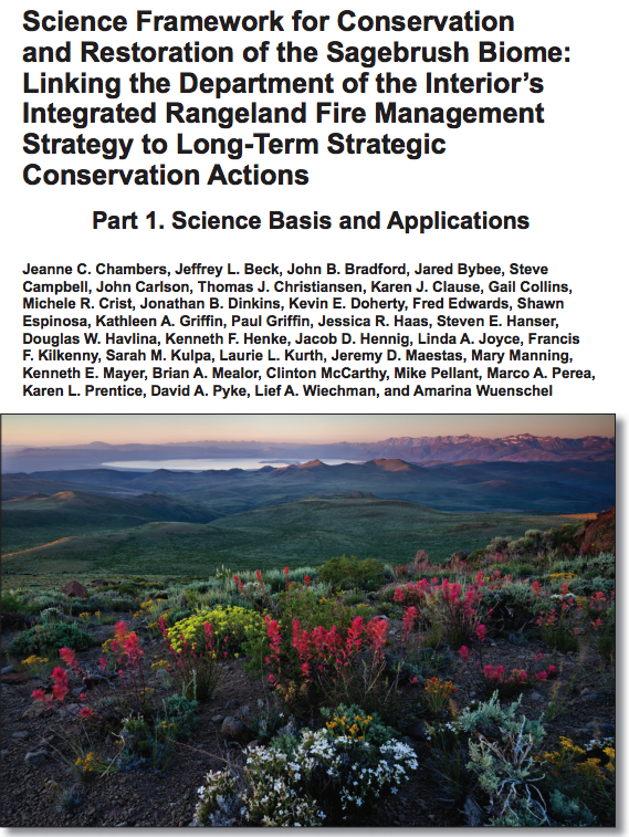Science Framework for Conservation and Restoration of the Sagebrush Biome: Linking the Department of the Interior Secretarial Order 3336 to Long-term Strategic Conservation Actions– April 2017 -