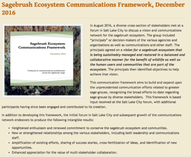 Sagebrush Ecosystem Communications Framework– December 2016 -