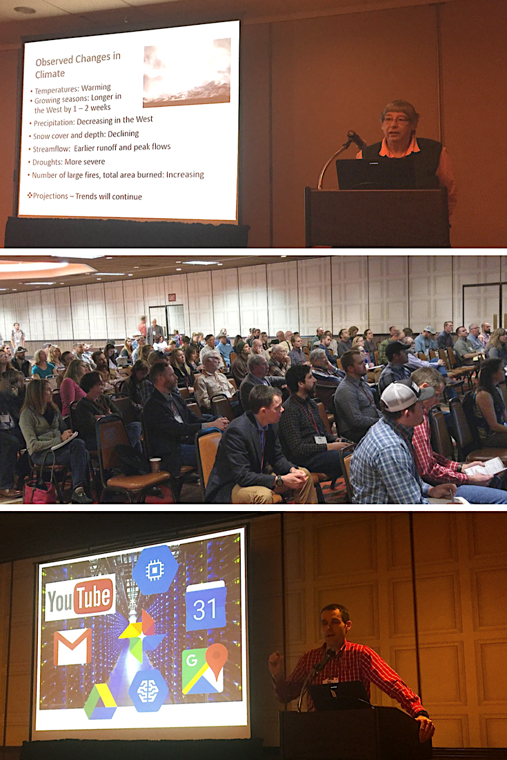 "Top: BLM Science Coordinator Louisa Evers presents "" Understanding Climate Adaptation Strategies "".  Bottom: Rangeland Ecologist Brady Allred presents "" New technology and frontiers: Efficiently measuring conservation outcomes with Google Earth Engine ""."
