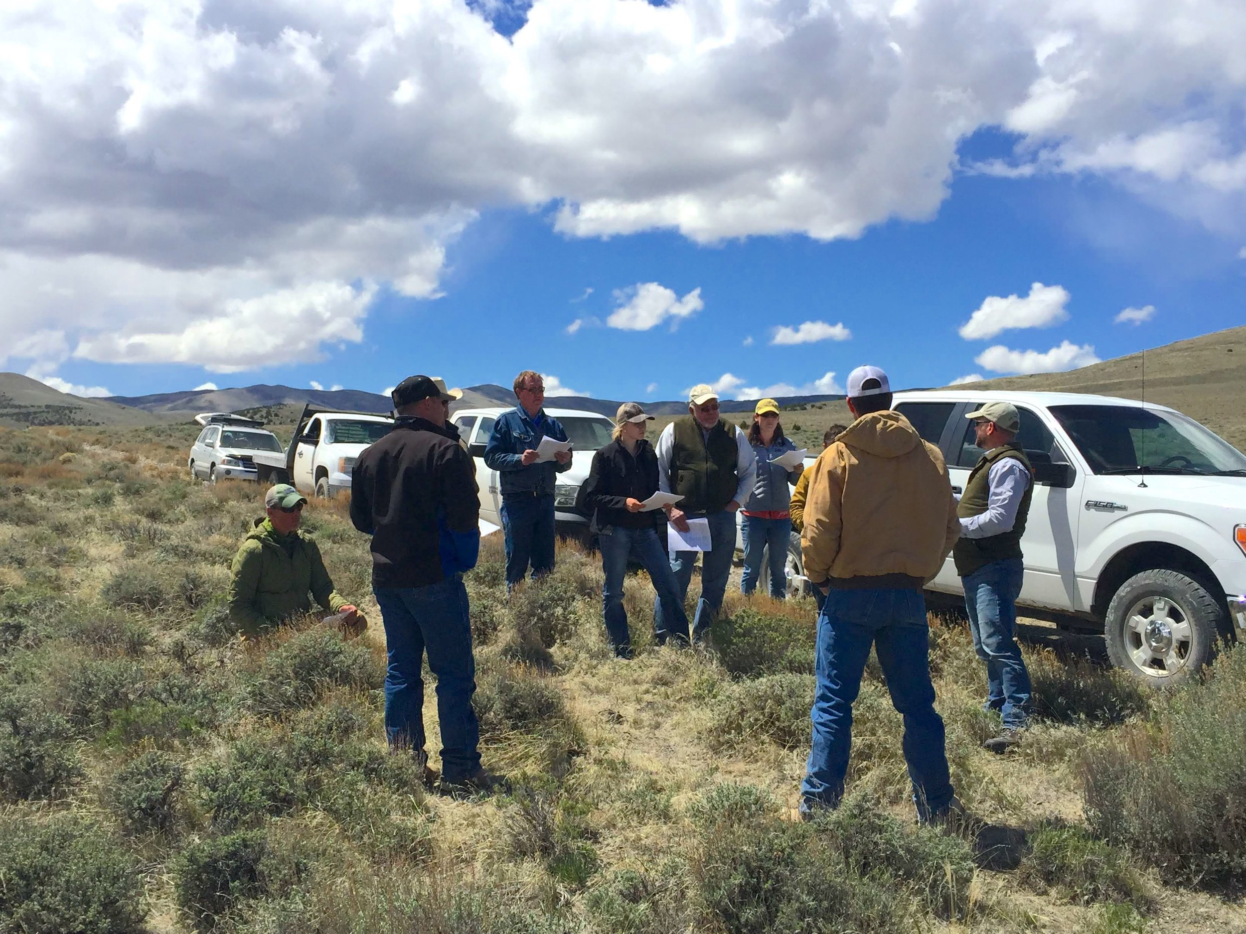 Calee Lott, pictured here in the center of the photo, attends a field tour in West Box Elder County, Utah. Photo by Eric Thacker.