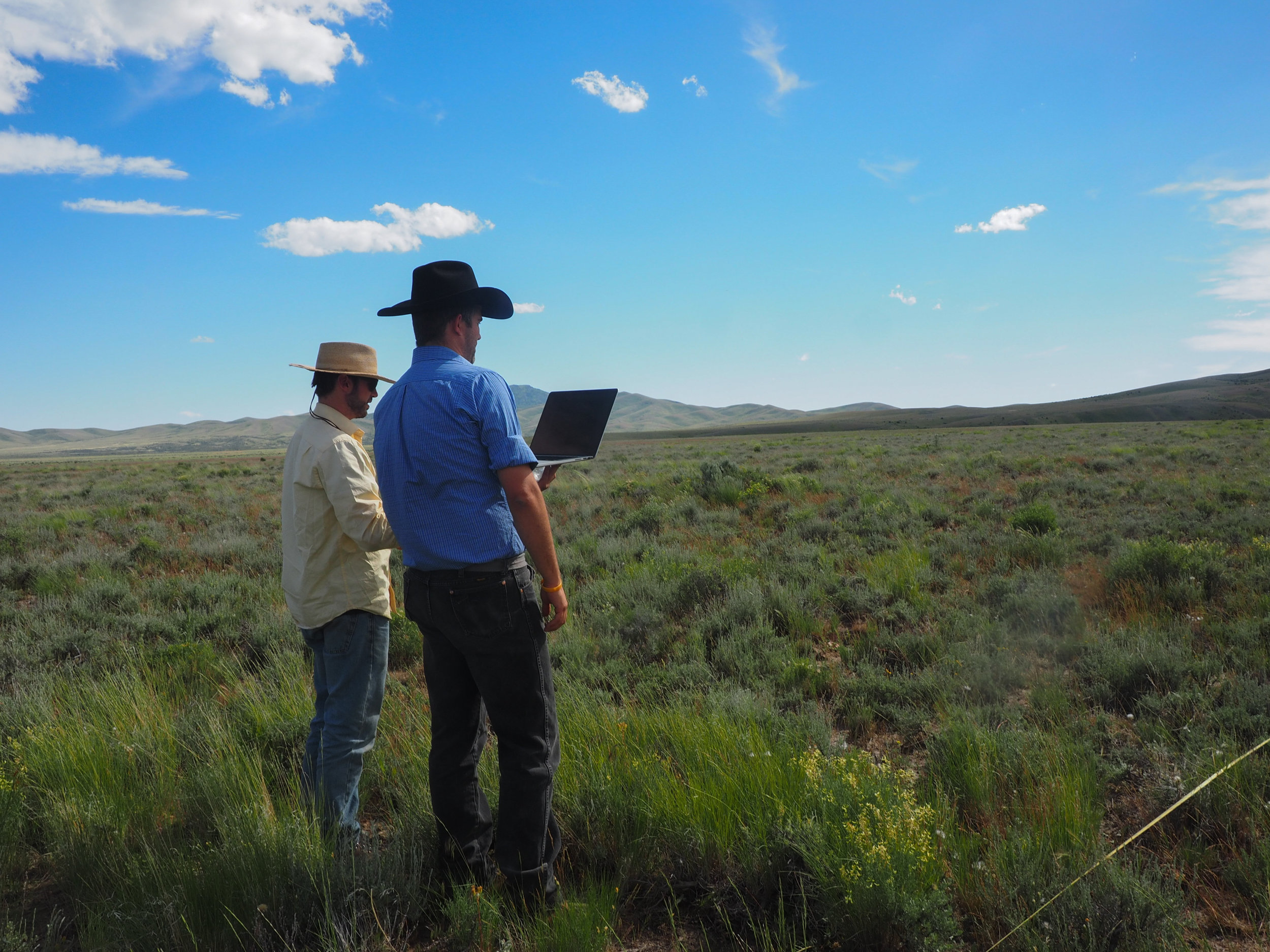 Lucas Phipps, University of Nevada-Reno, and Ethan Mower, Nevada Department of Agriculture, compare models for remote sensing for range monitoring with on the ground conditions.
